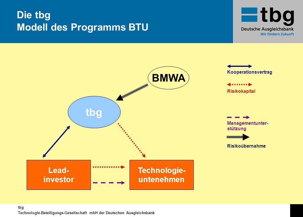 tbg Technologie-Beteiligungs-Gesellschaft mbH der Deutschen Ausgleichsbank Die tbg Modell des Programms BTU tbg Lead- investor Technologie- untenehmen