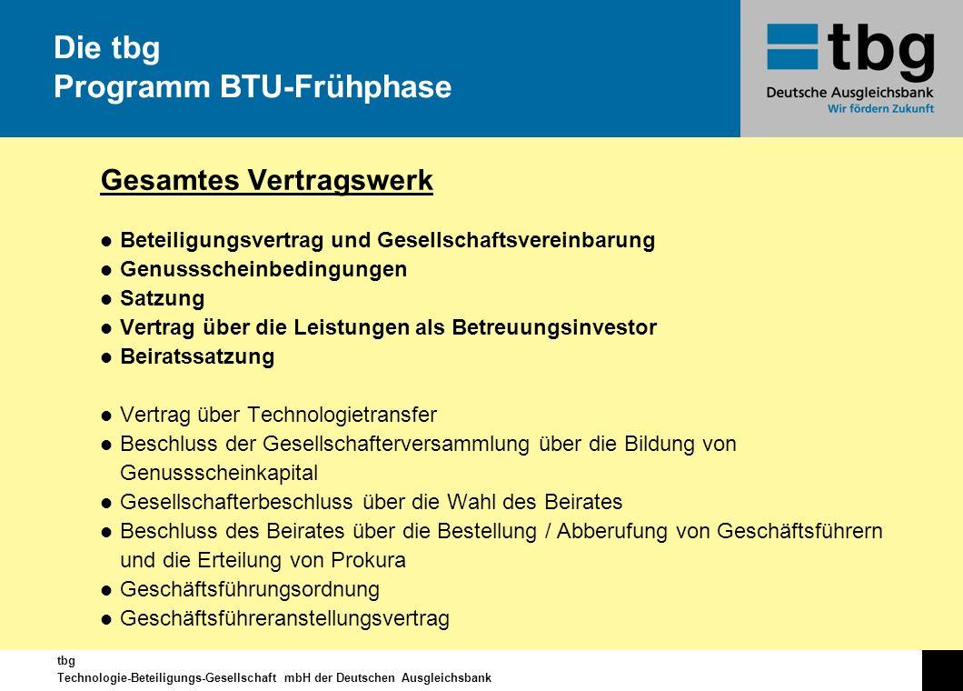 tbg Technologie-Beteiligungs-Gesellschaft mbH der Deutschen Ausgleichsbank Gesamtes Vertragswerk l Beteiligungsvertrag und Gesellschaftsvereinbarung l