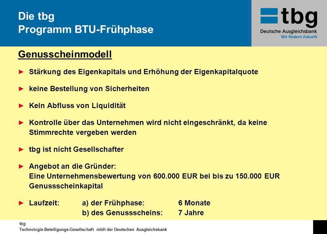 tbg Technologie-Beteiligungs-Gesellschaft mbH der Deutschen Ausgleichsbank Genusscheinmodell Stärkung des Eigenkapitals und Erhöhung der Eigenkapitalq