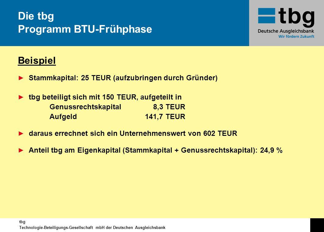 tbg Technologie-Beteiligungs-Gesellschaft mbH der Deutschen Ausgleichsbank Beispiel Stammkapital: 25 TEUR (aufzubringen durch Gründer) tbg beteiligt s