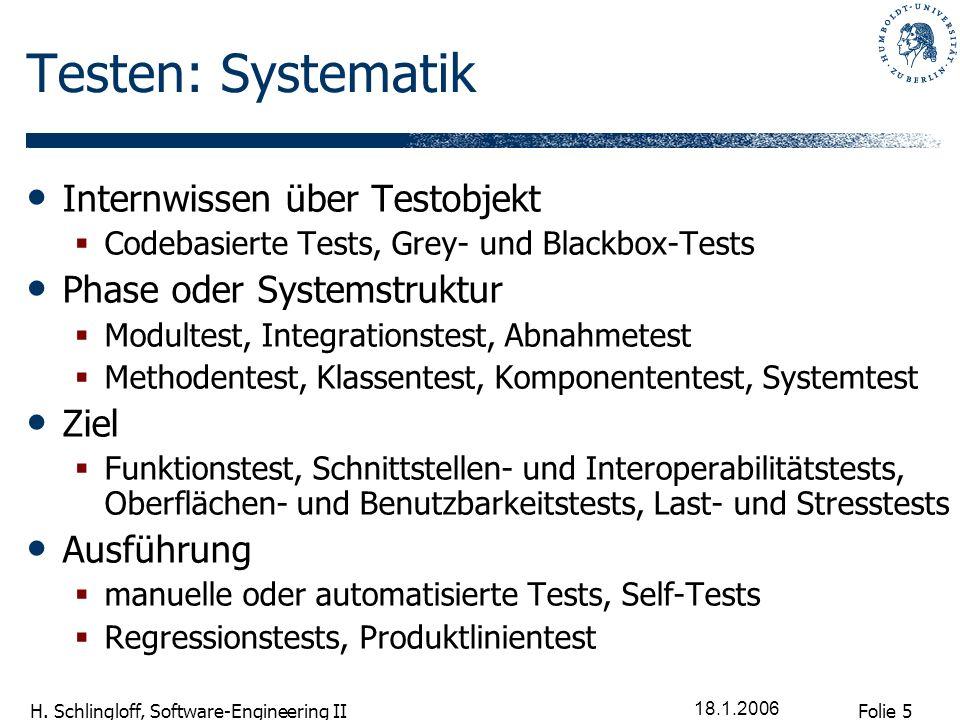 Folie 16 H.Schlingloff, Software-Engineering II 18.1.2006 Pause.