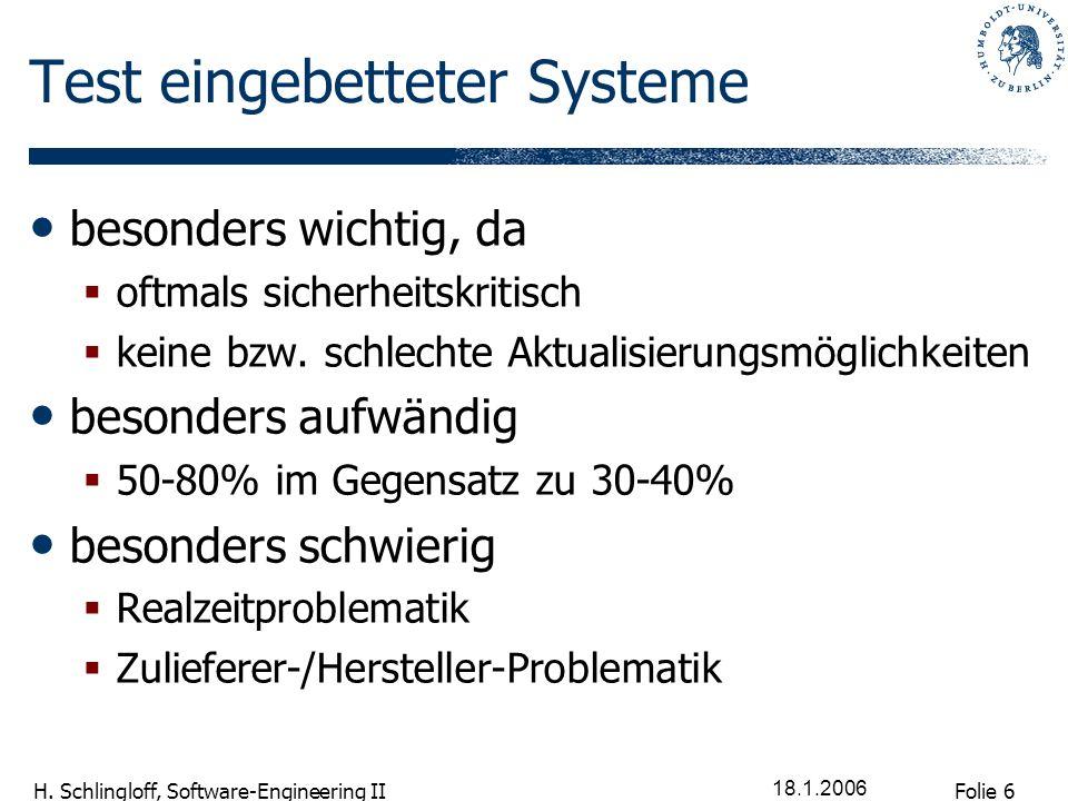Folie 6 H. Schlingloff, Software-Engineering II 18.1.2006 Test eingebetteter Systeme besonders wichtig, da oftmals sicherheitskritisch keine bzw. schl