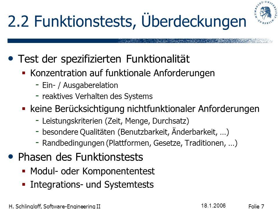 Folie 7 H. Schlingloff, Software-Engineering II 18.1.2006 2.2 Funktionstests, Überdeckungen Test der spezifizierten Funktionalität Konzentration auf f