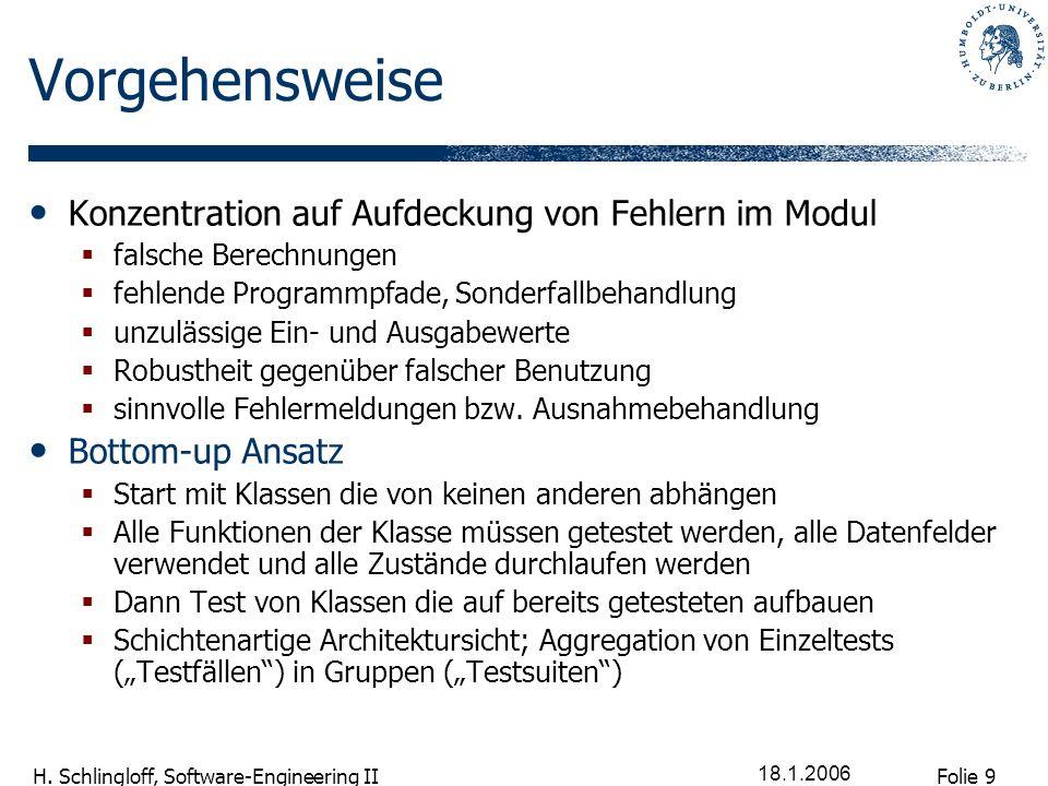 Folie 9 H. Schlingloff, Software-Engineering II 18.1.2006 Vorgehensweise Konzentration auf Aufdeckung von Fehlern im Modul falsche Berechnungen fehlen
