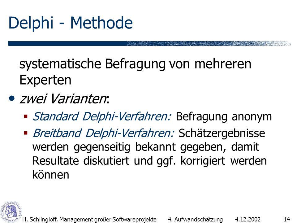 4.12.2002H. Schlingloff, Management großer Softwareprojekte14 Delphi - Methode systematische Befragung von mehreren Experten zwei Varianten: Standard