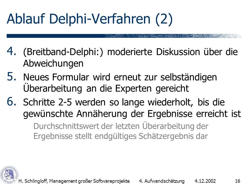 4.12.2002H. Schlingloff, Management großer Softwareprojekte16 Ablauf Delphi-Verfahren (2) 4. (Breitband-Delphi:) moderierte Diskussion über die Abweic