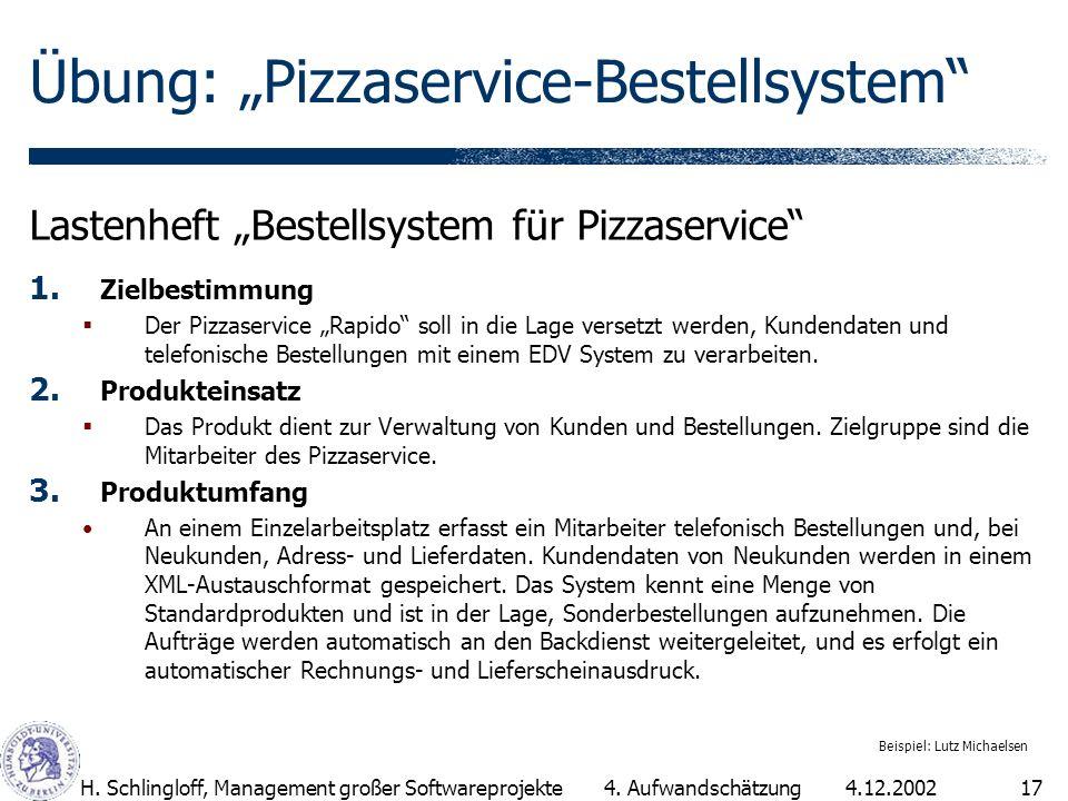 4.12.2002H. Schlingloff, Management großer Softwareprojekte17 Übung: Pizzaservice-Bestellsystem Lastenheft Bestellsystem für Pizzaservice 1. Zielbesti