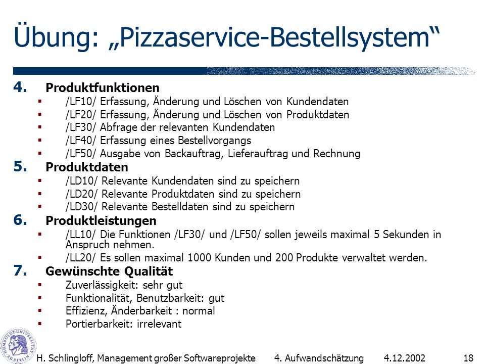4.12.2002H. Schlingloff, Management großer Softwareprojekte18 Übung: Pizzaservice-Bestellsystem 4. Produktfunktionen /LF10/ Erfassung, Änderung und Lö