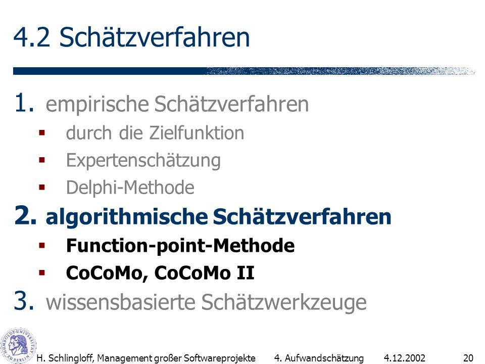 4.12.2002H. Schlingloff, Management großer Softwareprojekte20 4.2 Schätzverfahren 1. empirische Schätzverfahren durch die Zielfunktion Expertenschätzu