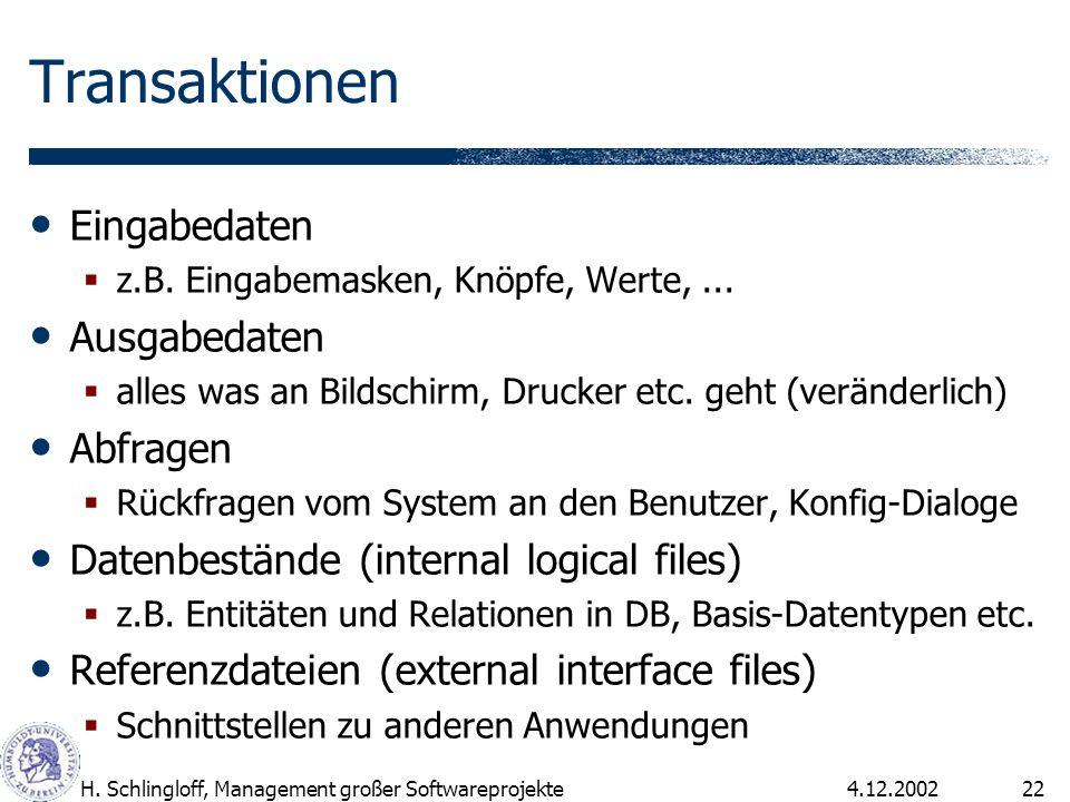 4.12.2002H. Schlingloff, Management großer Softwareprojekte22 Transaktionen Eingabedaten z.B. Eingabemasken, Knöpfe, Werte,... Ausgabedaten alles was