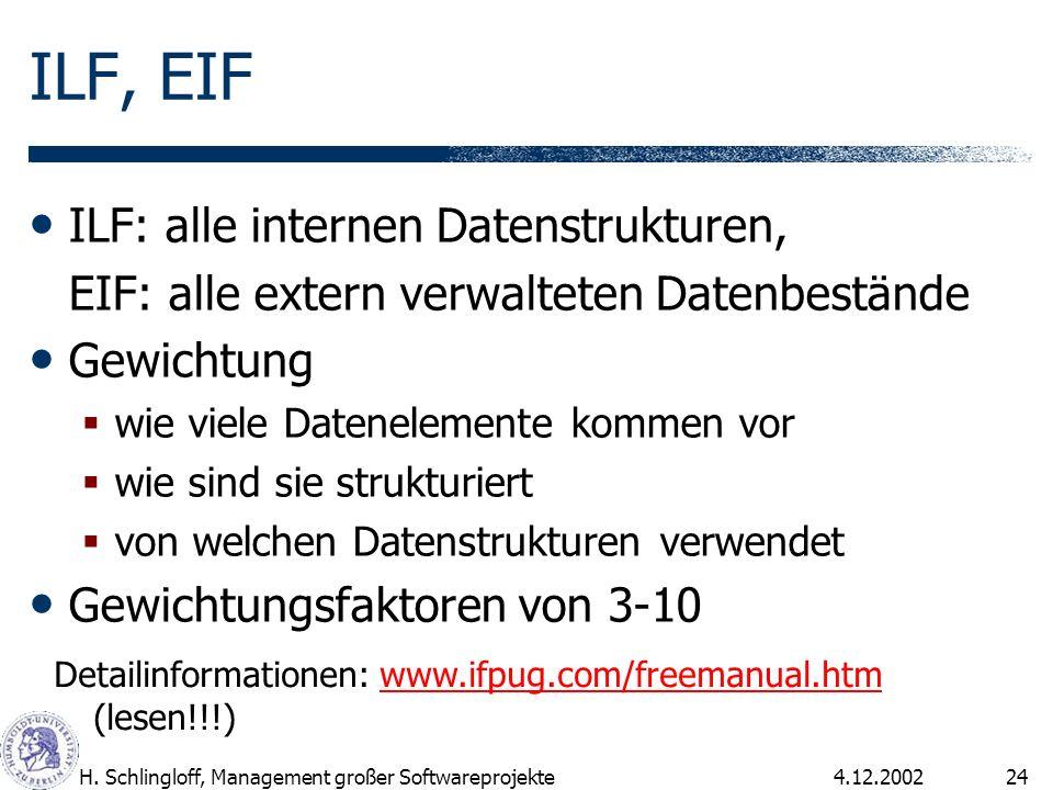 4.12.2002H. Schlingloff, Management großer Softwareprojekte24 ILF, EIF ILF: alle internen Datenstrukturen, EIF: alle extern verwalteten Datenbestände