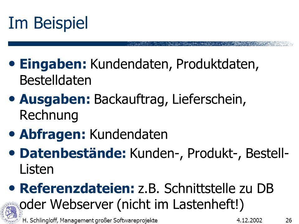 4.12.2002H. Schlingloff, Management großer Softwareprojekte26 Im Beispiel Eingaben: Kundendaten, Produktdaten, Bestelldaten Ausgaben: Backauftrag, Lie
