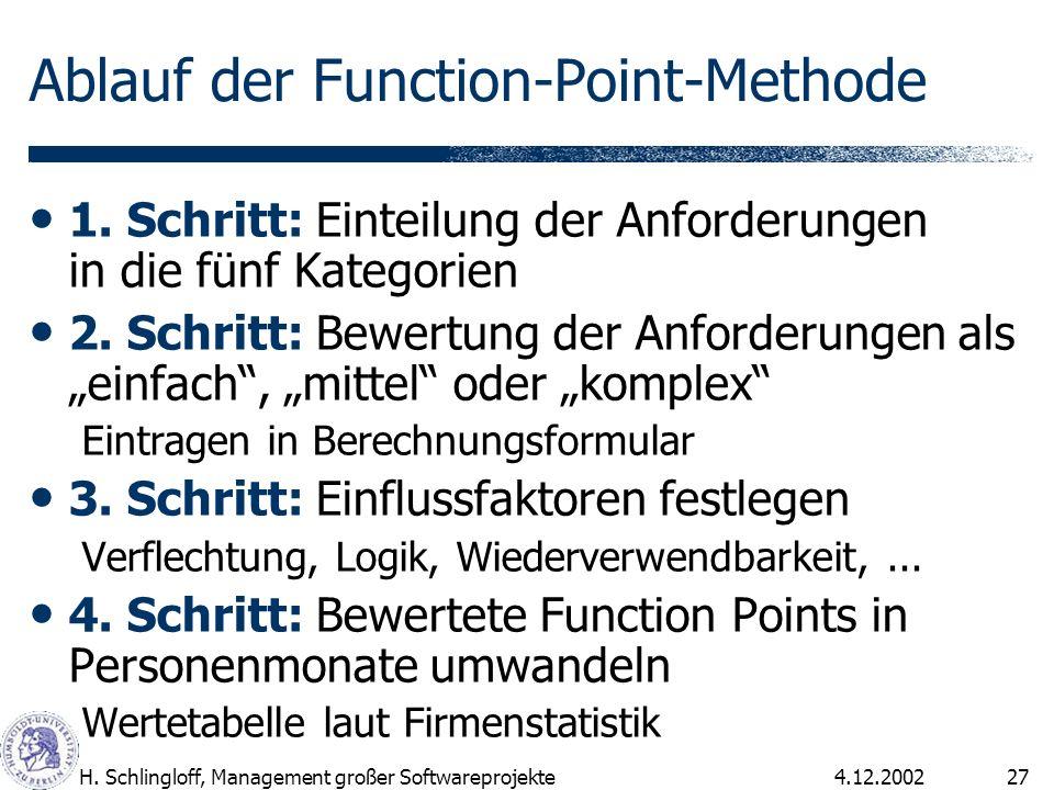 4.12.2002H. Schlingloff, Management großer Softwareprojekte27 Ablauf der Function-Point-Methode 1. Schritt: Einteilung der Anforderungen in die fünf K