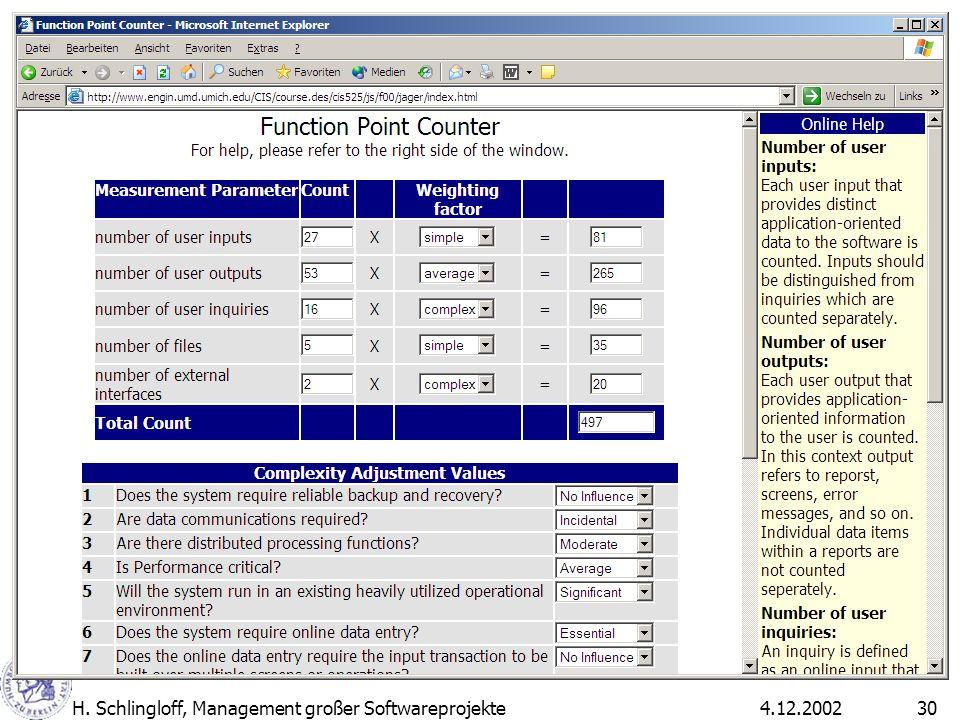 4.12.2002H. Schlingloff, Management großer Softwareprojekte30
