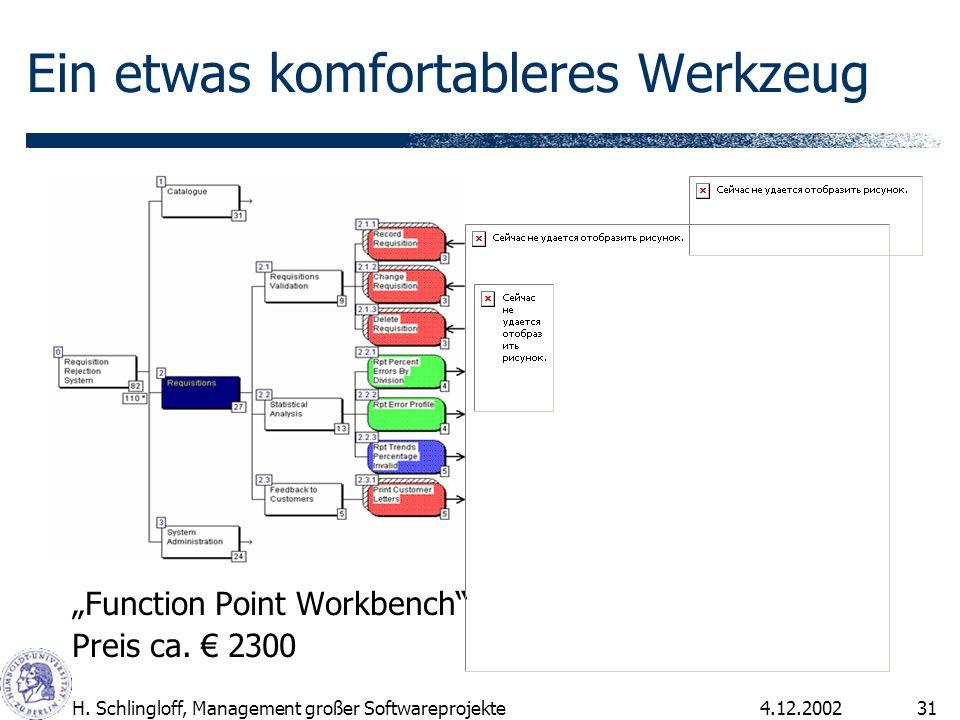4.12.2002H. Schlingloff, Management großer Softwareprojekte31 Ein etwas komfortableres Werkzeug Function Point Workbench Preis ca. 2300