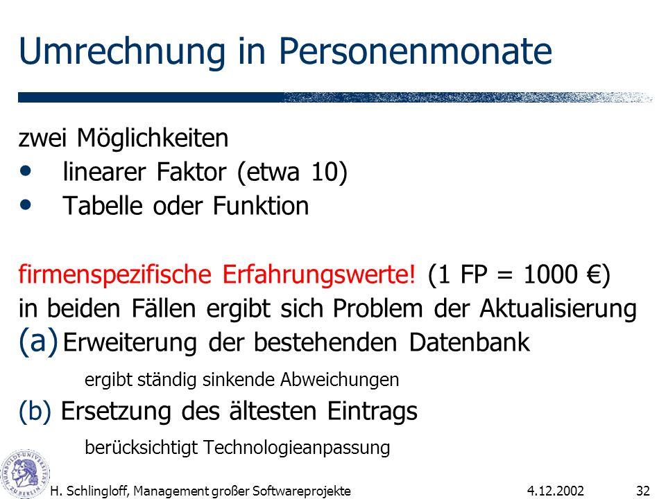 4.12.2002H. Schlingloff, Management großer Softwareprojekte32 Umrechnung in Personenmonate zwei Möglichkeiten linearer Faktor (etwa 10) Tabelle oder F