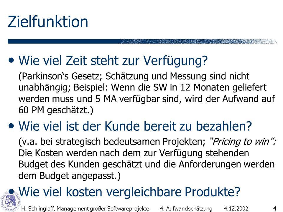 4.12.2002H. Schlingloff, Management großer Softwareprojekte4 Zielfunktion Wie viel Zeit steht zur Verfügung? (Parkinsons Gesetz; Schätzung und Messung