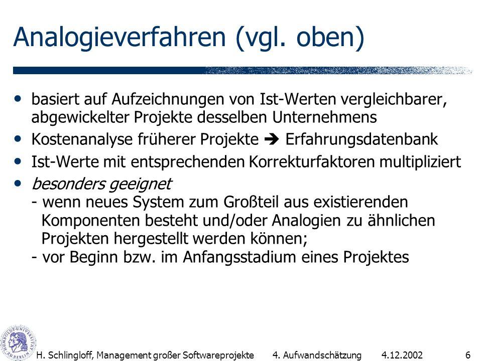 4.12.2002H. Schlingloff, Management großer Softwareprojekte6 Analogieverfahren (vgl. oben) basiert auf Aufzeichnungen von Ist-Werten vergleichbarer, a