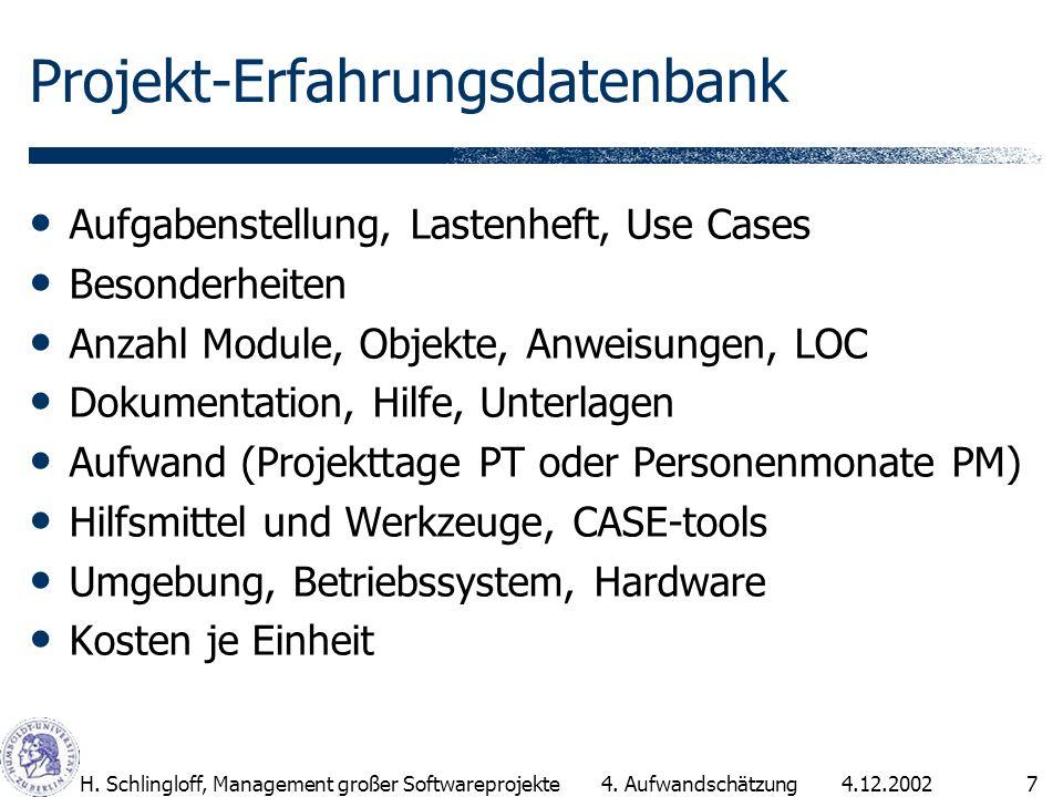 4.12.2002H. Schlingloff, Management großer Softwareprojekte7 Projekt-Erfahrungsdatenbank Aufgabenstellung, Lastenheft, Use Cases Besonderheiten Anzahl