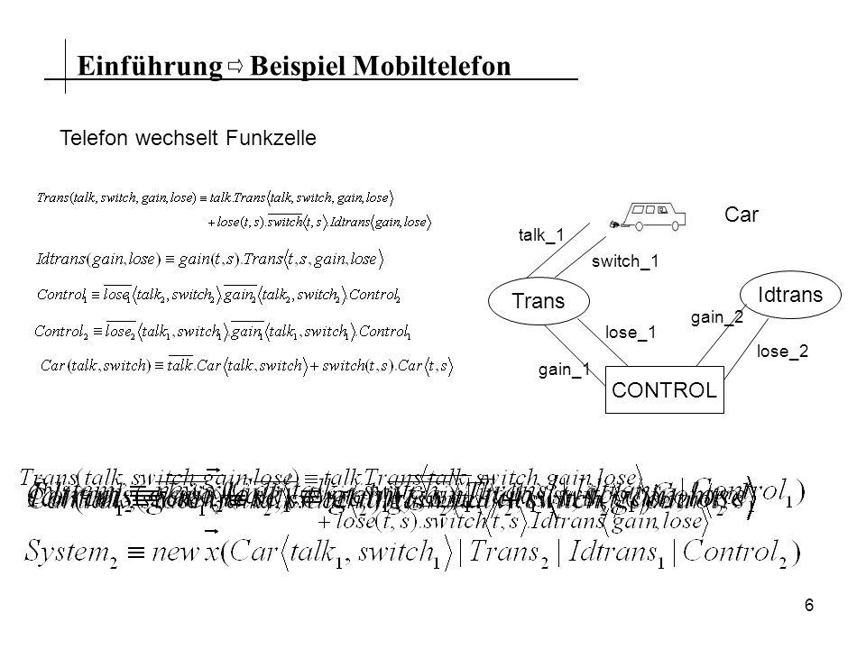 6 EinführungBeispiel Mobiltelefon Telefon wechselt Funkzelle CONTROL Trans Idtrans Car talk_1 switch_1 gain_2 lose_2 lose_1 gain_1