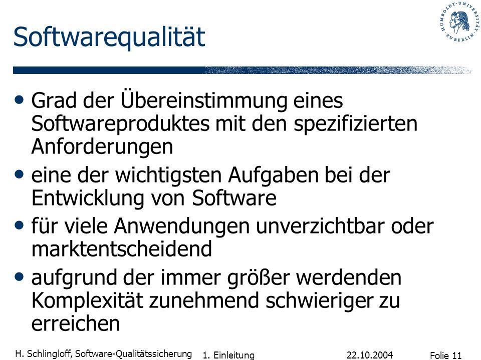 Folie 11 H. Schlingloff, Software-Qualitätssicherung 22.10.2004 1. Einleitung Softwarequalität Grad der Übereinstimmung eines Softwareproduktes mit de