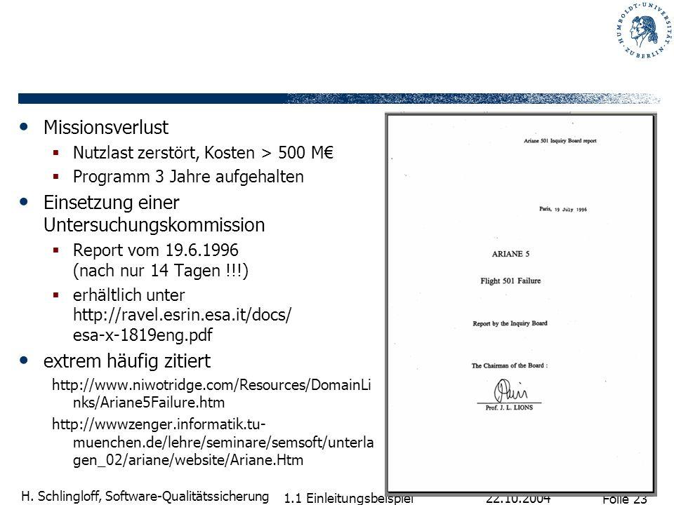 Folie 23 H. Schlingloff, Software-Qualitätssicherung 22.10.2004 1.1 Einleitungsbeispiel Missionsverlust Nutzlast zerstört, Kosten > 500 M Programm 3 J