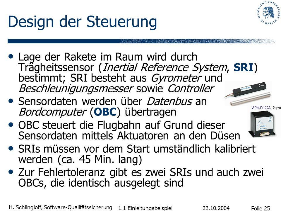 Folie 25 H. Schlingloff, Software-Qualitätssicherung 22.10.2004 1.1 Einleitungsbeispiel Design der Steuerung Lage der Rakete im Raum wird durch Träghe