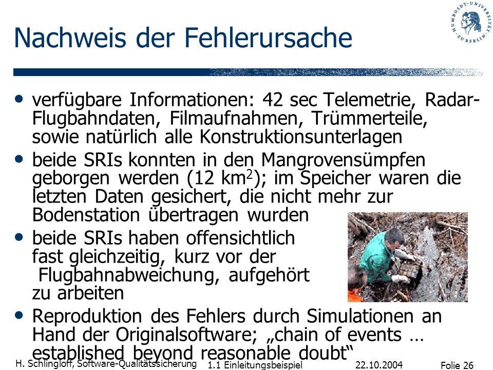 Folie 26 H. Schlingloff, Software-Qualitätssicherung 22.10.2004 1.1 Einleitungsbeispiel Nachweis der Fehlerursache verfügbare Informationen: 42 sec Te