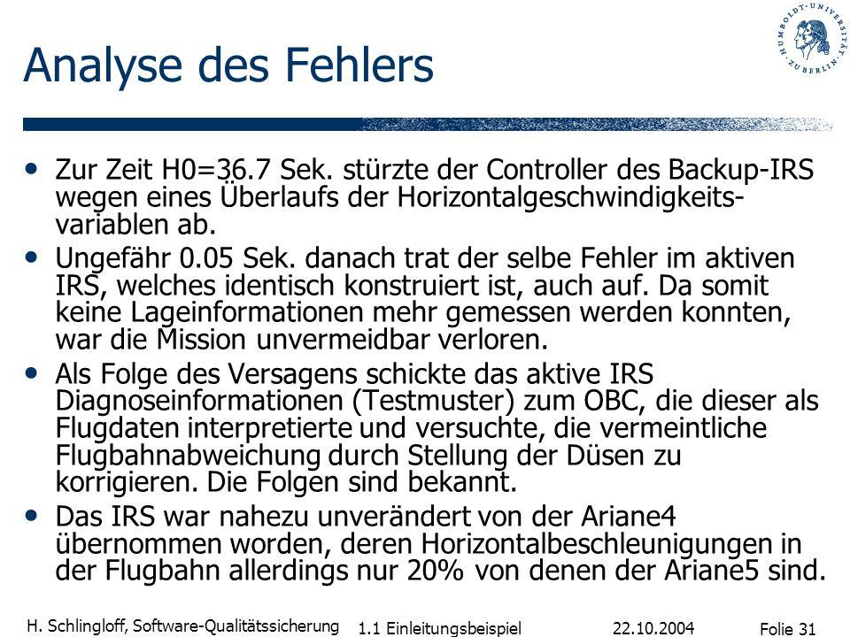 Folie 31 H. Schlingloff, Software-Qualitätssicherung 22.10.2004 1.1 Einleitungsbeispiel Analyse des Fehlers Zur Zeit H0=36.7 Sek. stürzte der Controll