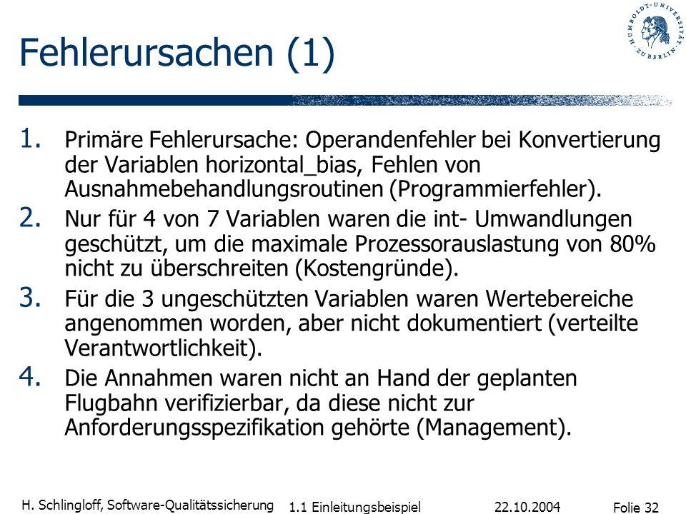 Folie 32 H. Schlingloff, Software-Qualitätssicherung 22.10.2004 1.1 Einleitungsbeispiel Fehlerursachen (1) 1. Primäre Fehlerursache: Operandenfehler b