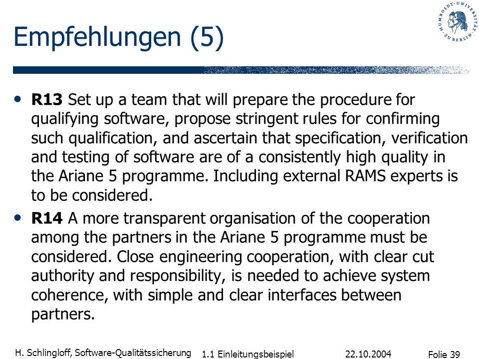 Folie 39 H. Schlingloff, Software-Qualitätssicherung 22.10.2004 1.1 Einleitungsbeispiel Empfehlungen (5) R13 Set up a team that will prepare the proce