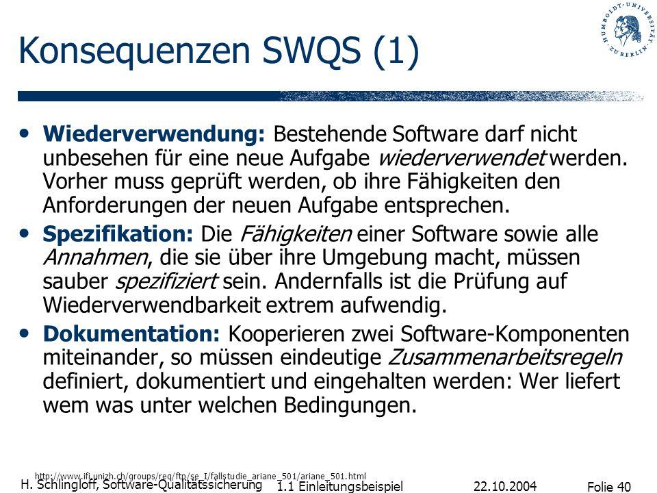 Folie 40 H. Schlingloff, Software-Qualitätssicherung 22.10.2004 1.1 Einleitungsbeispiel Konsequenzen SWQS (1) Wiederverwendung: Bestehende Software da
