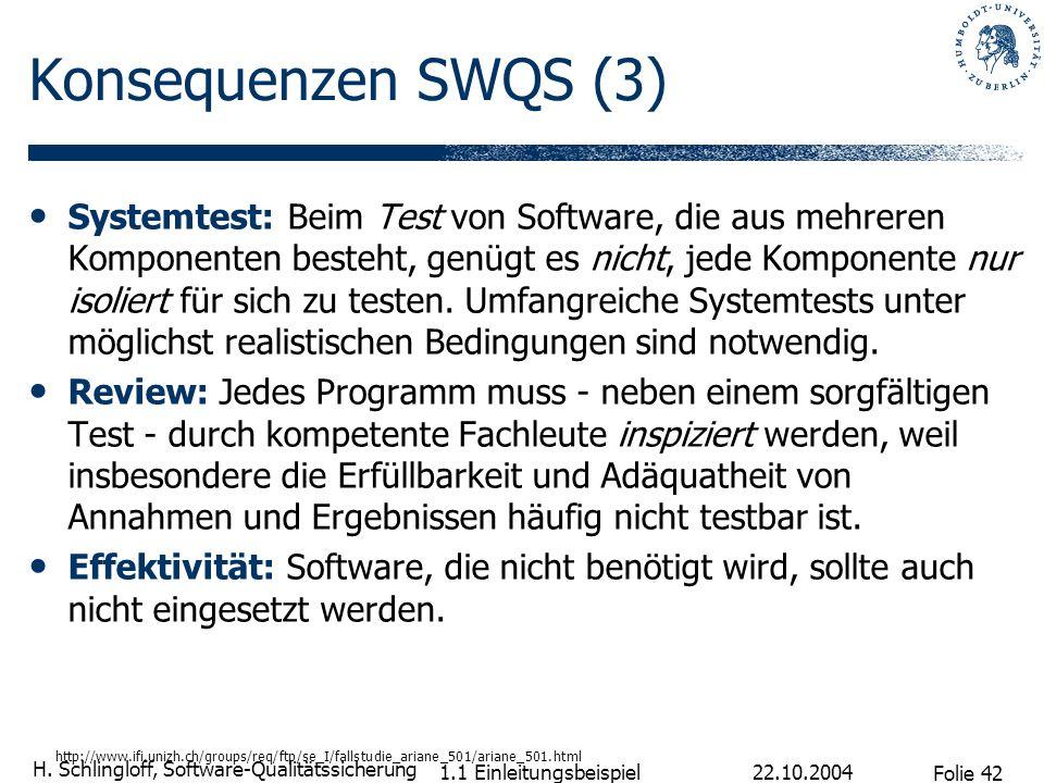 Folie 42 H. Schlingloff, Software-Qualitätssicherung 22.10.2004 1.1 Einleitungsbeispiel Konsequenzen SWQS (3) Systemtest: Beim Test von Software, die