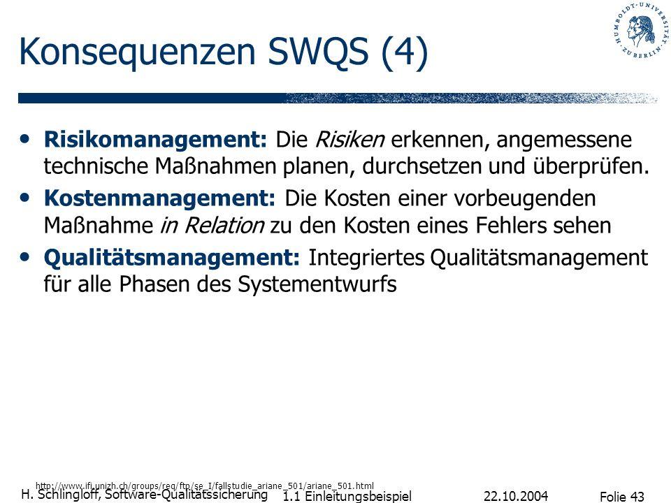 Folie 43 H. Schlingloff, Software-Qualitätssicherung 22.10.2004 1.1 Einleitungsbeispiel Konsequenzen SWQS (4) Risikomanagement: Die Risiken erkennen,