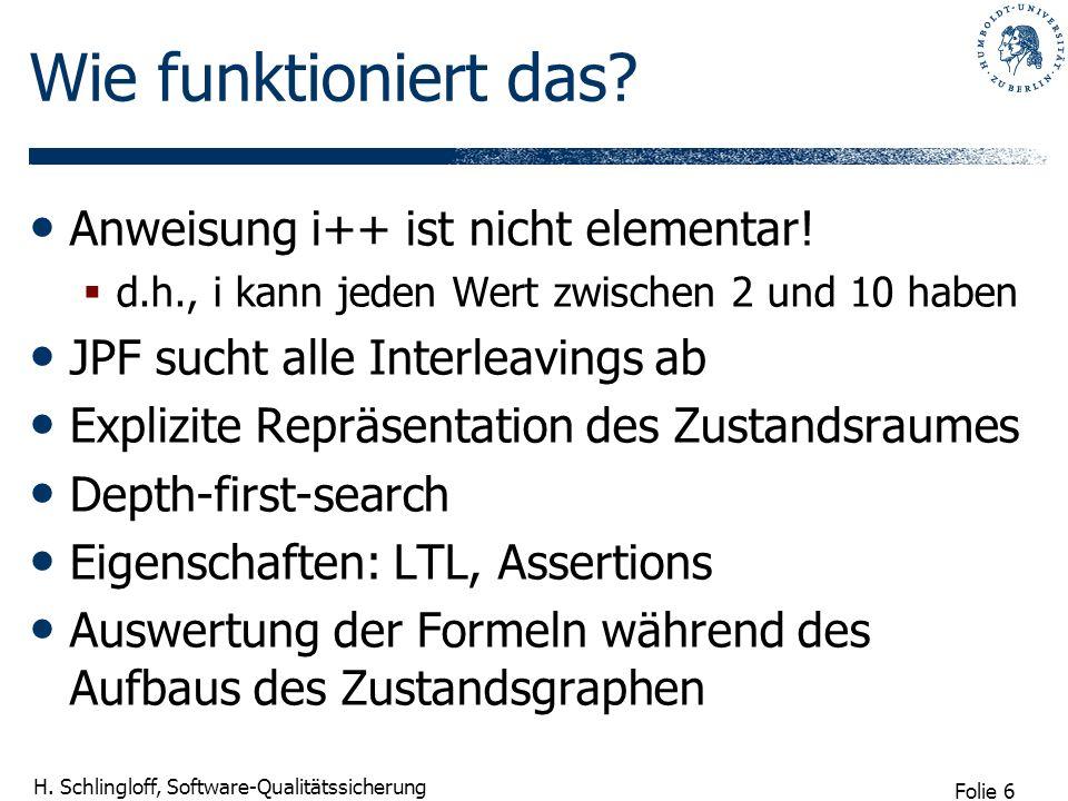 Folie 6 H. Schlingloff, Software-Qualitätssicherung Wie funktioniert das.