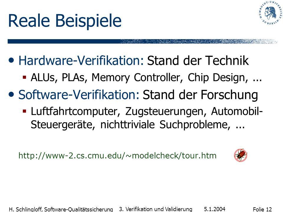 Folie 12 H. Schlingloff, Software-Qualitätssicherung 5.1.2004 3. Verifikation und Validierung Reale Beispiele Hardware-Verifikation: Stand der Technik