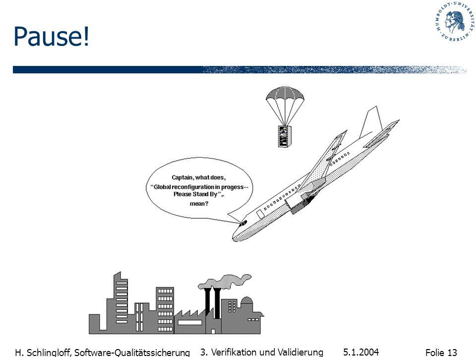 Folie 13 H. Schlingloff, Software-Qualitätssicherung 5.1.2004 3. Verifikation und Validierung Pause!