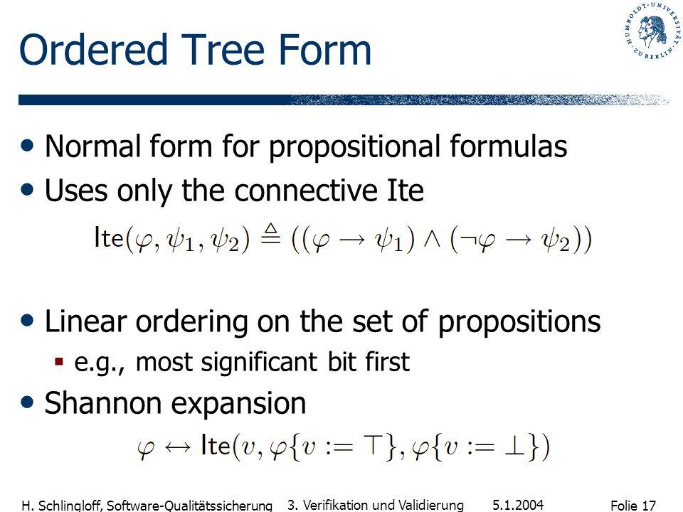 Folie 17 H. Schlingloff, Software-Qualitätssicherung 5.1.2004 3. Verifikation und Validierung Ordered Tree Form Normal form for propositional formulas