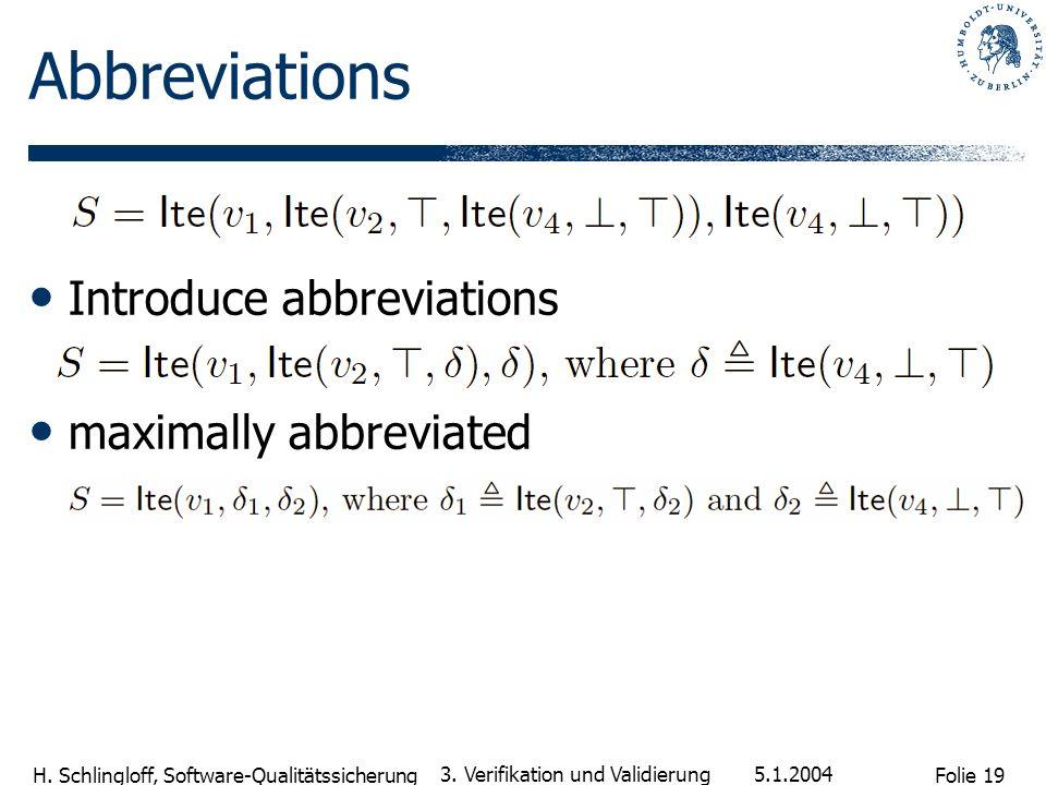 Folie 19 H. Schlingloff, Software-Qualitätssicherung 5.1.2004 3. Verifikation und Validierung Abbreviations Introduce abbreviations maximally abbrevia