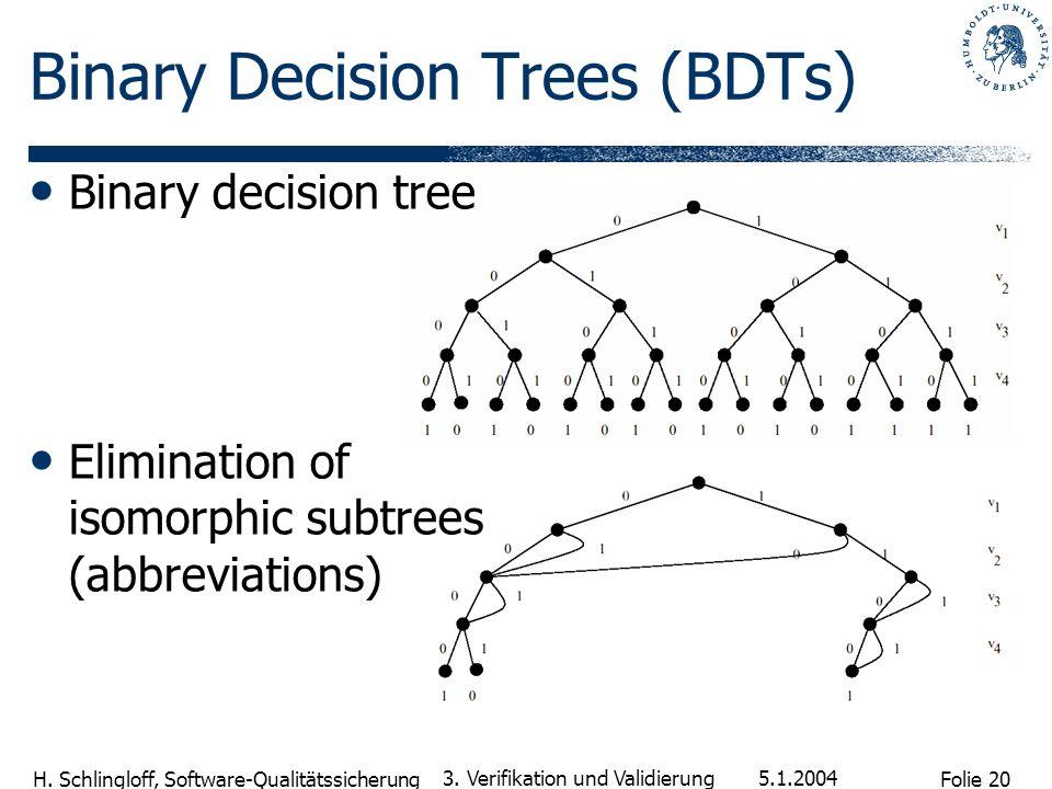 Folie 20 H. Schlingloff, Software-Qualitätssicherung 5.1.2004 3. Verifikation und Validierung Binary Decision Trees (BDTs) Binary decision tree Elimin