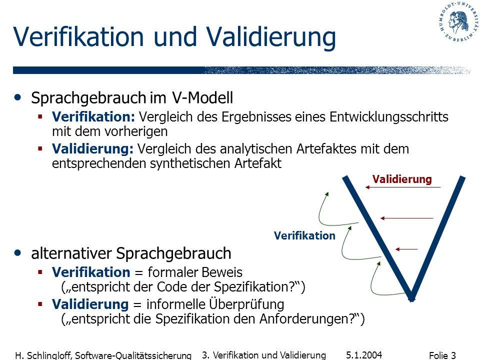 Folie 3 H. Schlingloff, Software-Qualitätssicherung 5.1.2004 3. Verifikation und Validierung Sprachgebrauch im V-Modell Verifikation: Vergleich des Er