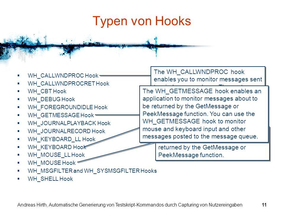 Andreas Hirth, Automatische Generierung von Testskript-Kommandos durch Capturing von Nutzereingaben11 WH_CALLWNDPROC Hook WH_CALLWNDPROCRET Hook WH_CB