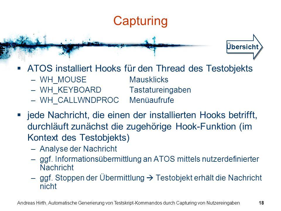 Andreas Hirth, Automatische Generierung von Testskript-Kommandos durch Capturing von Nutzereingaben18 Capturing ATOS installiert Hooks für den Thread