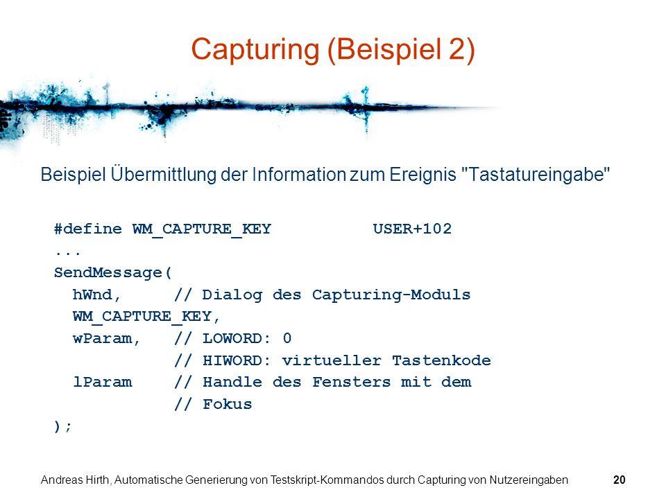 Andreas Hirth, Automatische Generierung von Testskript-Kommandos durch Capturing von Nutzereingaben20 Capturing (Beispiel 2) Beispiel Übermittlung der