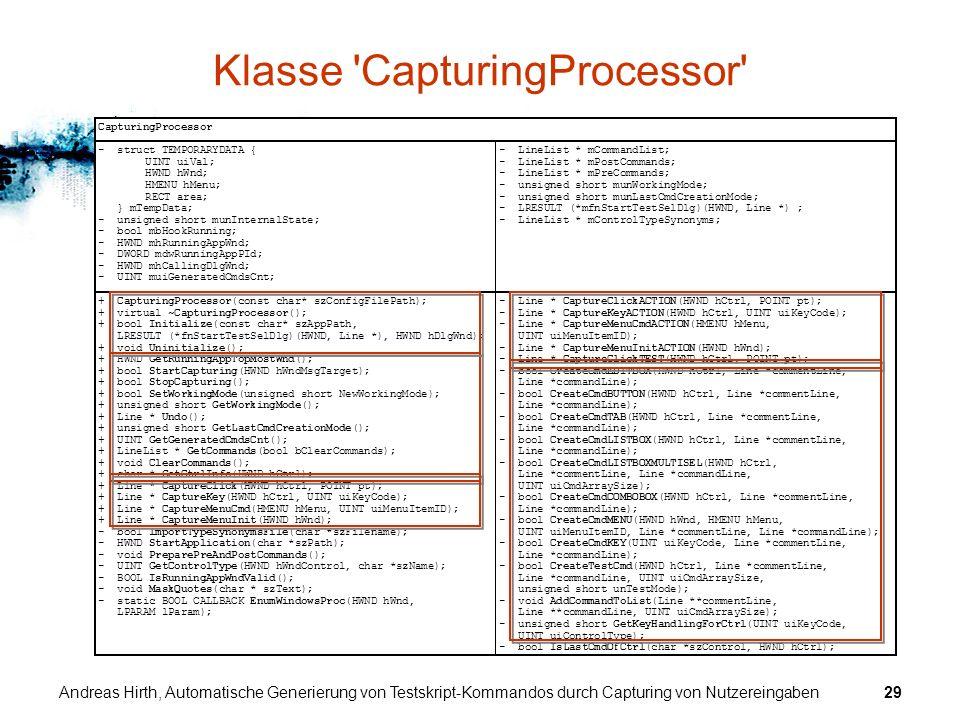 Andreas Hirth, Automatische Generierung von Testskript-Kommandos durch Capturing von Nutzereingaben29 Klasse 'CapturingProcessor' CapturingProcessor -