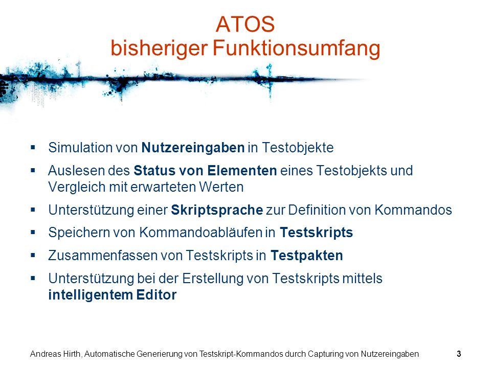 Andreas Hirth, Automatische Generierung von Testskript-Kommandos durch Capturing von Nutzereingaben34 Fazit und Ausblick Erreichte Ziele –zuverlässiges Capturing der Nutzeraktionen durch Interpretation von Eingabe-Nachrichten auf niedrigem Level –schnelle, intuitive Generierung von Aktions- und Testkommandos –Unterstützung des Testens von Applikationen, für die kein Quellkode vorliegt –saubere Einbettung in das ATOS Grundsystem –Möglichkeit der kombinierten Verwendung von manueller Testskript-Erstellung und Capturing Erweiterungen, Verbesserungen –Verwendung der URF-Daten zur Kommando-Generierung, wenn vorhanden –ggf.