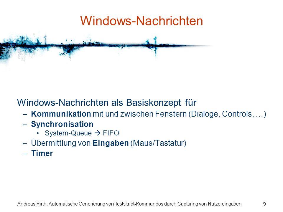 Andreas Hirth, Automatische Generierung von Testskript-Kommandos durch Capturing von Nutzereingaben30 Hook Trennung von GUI und Logik ATOS GUI Logik Testsequenz startet sendet Nachrichten installiert, steuert übermittelt Daten steuert CapturingProcessor ATOS Capturing Dialog