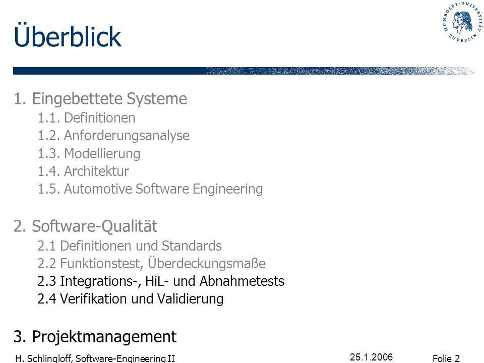 Folie 2 H. Schlingloff, Software-Engineering II 25.1.2006 Überblick 1. Eingebettete Systeme 1.1. Definitionen 1.2. Anforderungsanalyse 1.3. Modellieru
