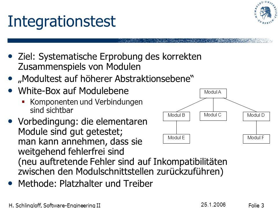 Folie 3 H. Schlingloff, Software-Engineering II 25.1.2006 Integrationstest Ziel: Systematische Erprobung des korrekten Zusammenspiels von Modulen Modu