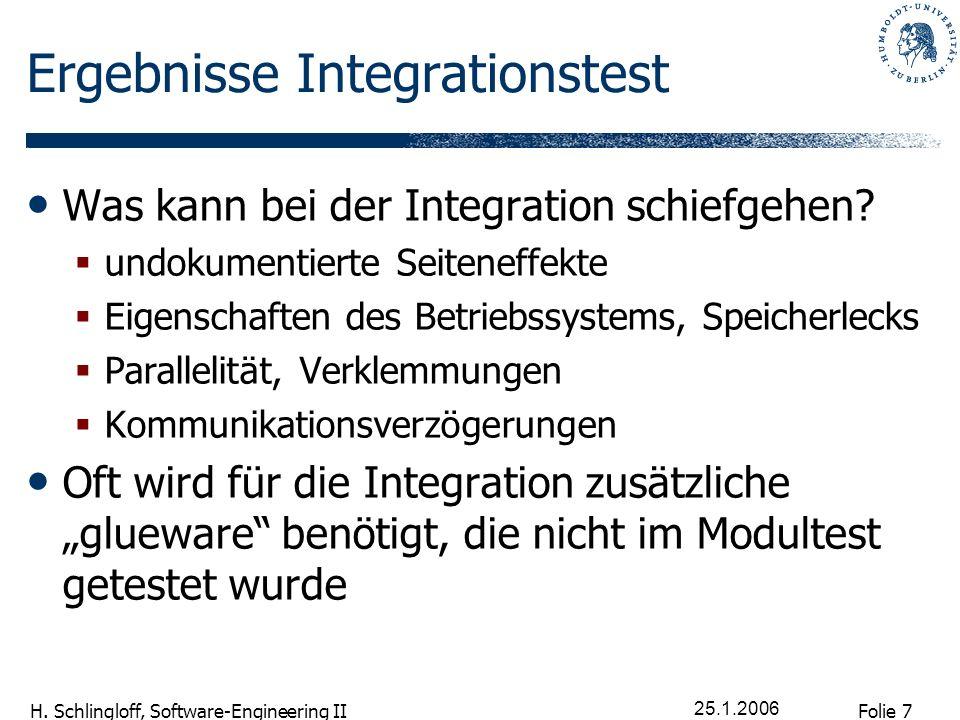 Folie 7 H. Schlingloff, Software-Engineering II 25.1.2006 Ergebnisse Integrationstest Was kann bei der Integration schiefgehen? undokumentierte Seiten